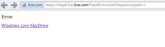 Windows Live SkyDrive login response